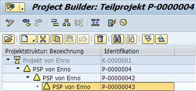 Projektsystem: Hierarchie PSP-Element ändern