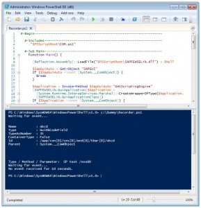 SAP GUI Scripting Recorder in Windows PowerShell
