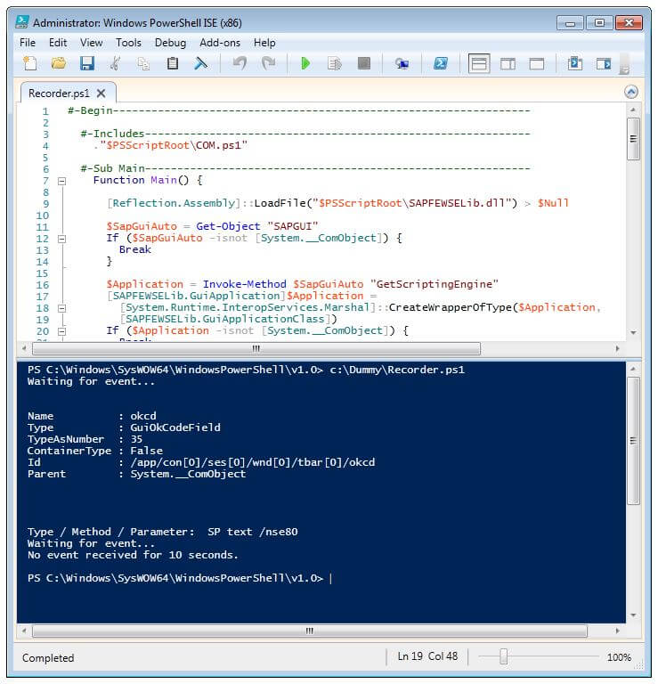 SAP GUI Scripting Rekorder mit Windows PowerShell